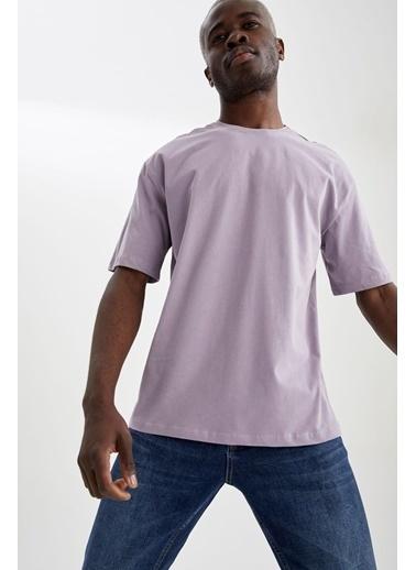 DeFacto Overize Fit Bisiklet Yaka Basic T-shirt Mor